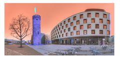 Heilbronn, Alt &Neu. Bollwerksturm und Mercure Hotel