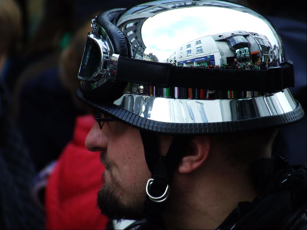 Helmeted