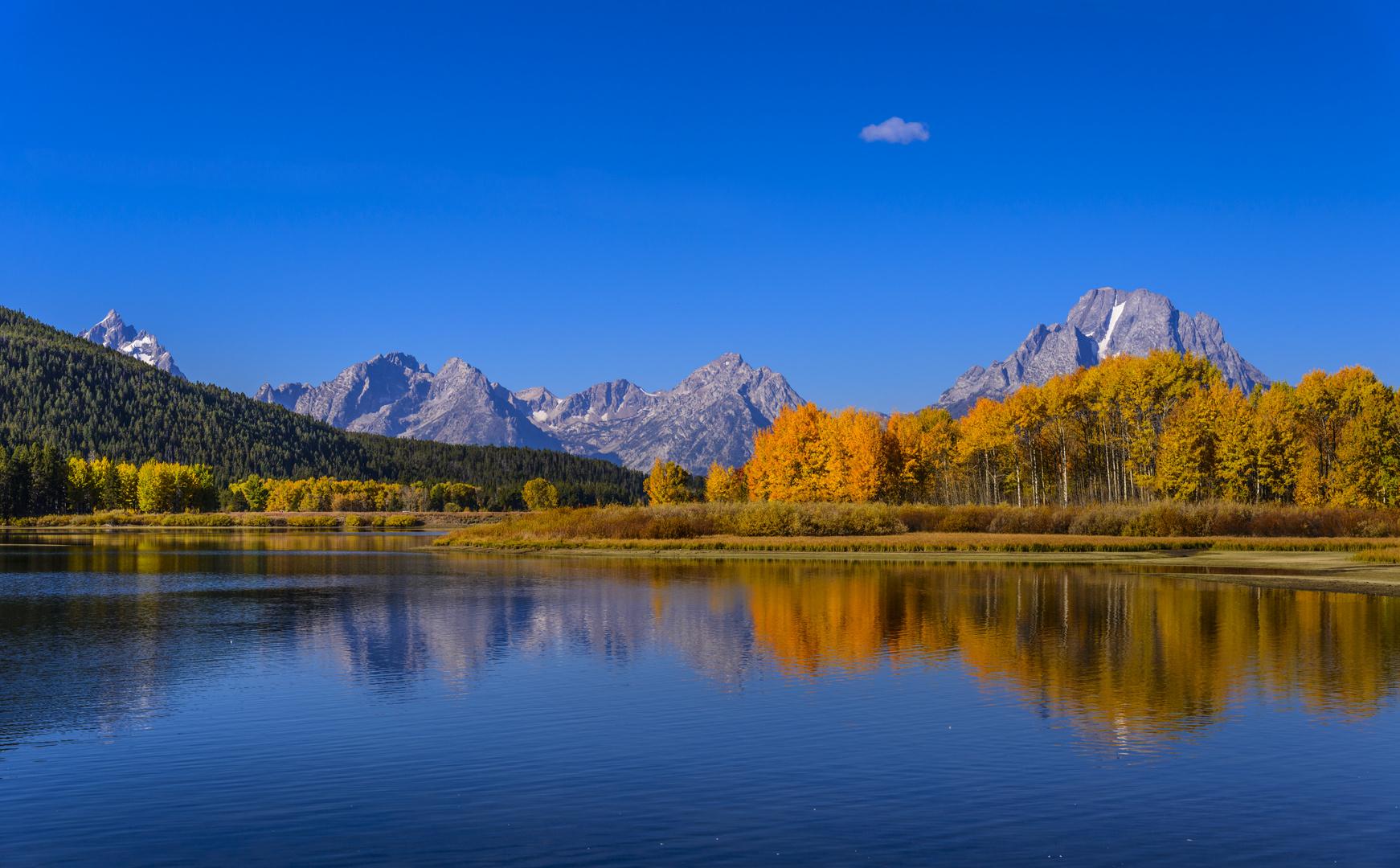 Herbst am Oxbow Bend, Teton Range, Wyoming, USA