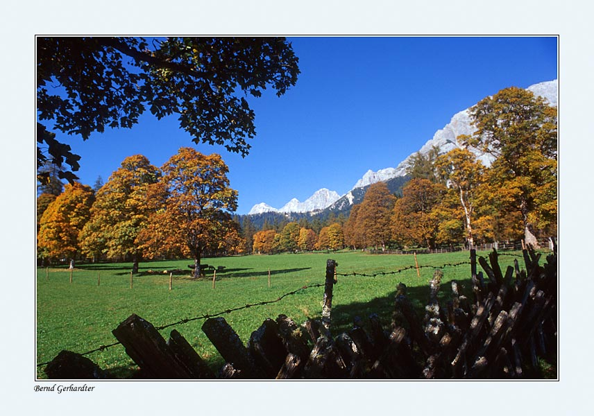 Herbst in der Ramsau - im Hintergrund das Dreigestirn des Dachsteins