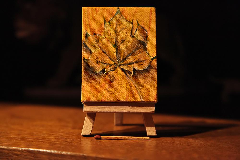 Herbstblatt in Öl