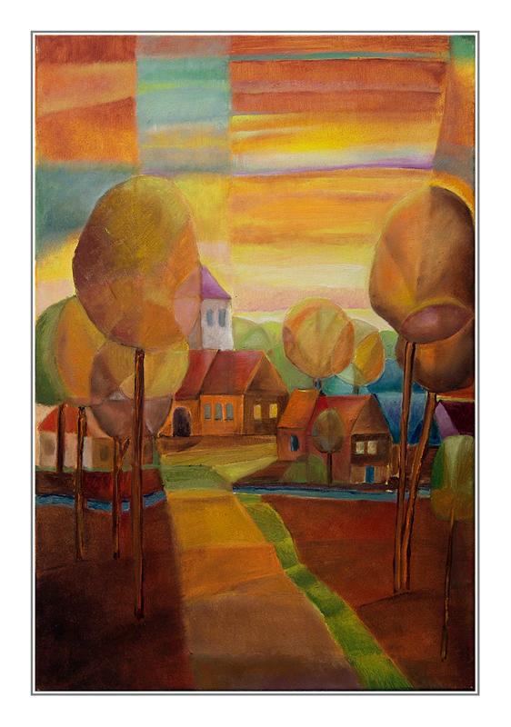 Herbstdorf hinter Bäumen