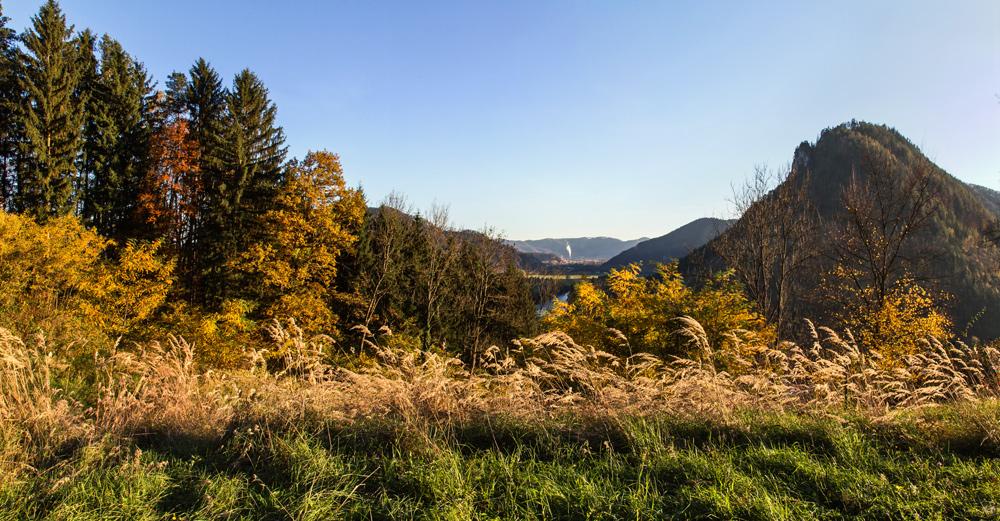 Herbstlandschaft mit Blick auf die Mur und Gratkorn im Abendlicht!