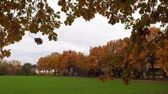 Herbstliche Landschaft mit Eichenrahmen