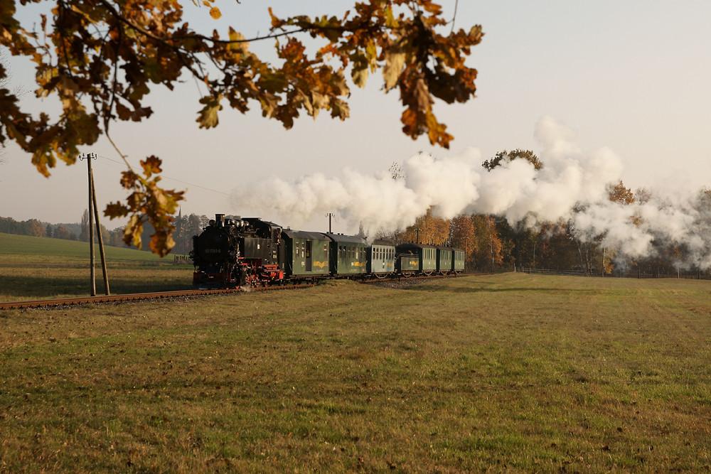 Herbststimmung bei der Lößnitzgrundbahn
