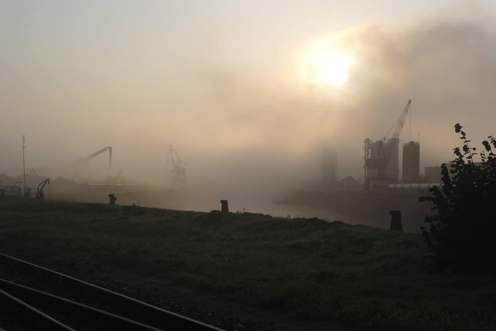 .... heute früh: Hafen in Dresden im Nebel