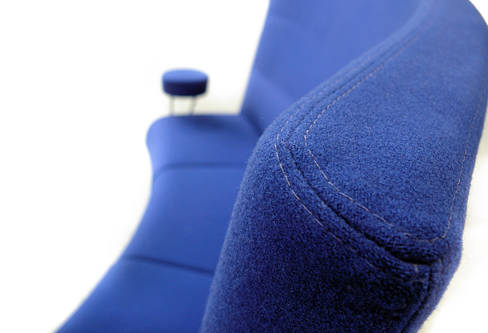 High back blue couch