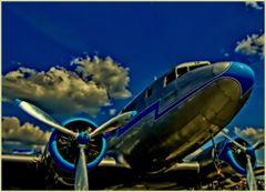 Himmelblaue Flugzeugfarbe