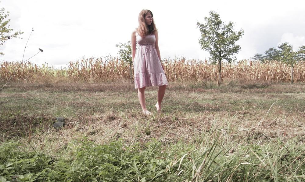 Hinter dem Maisfeld links