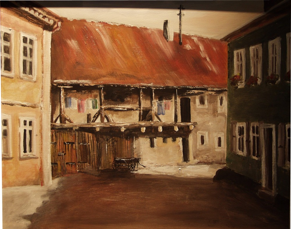 Hinterhof in Tempera