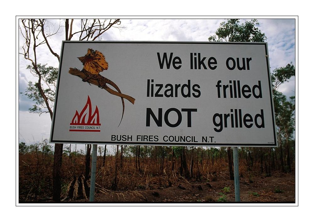 Hinweisschild des Bush Fires Council, N.T.