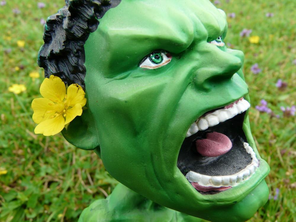 Hippie-Hulk mit Blume hinterm Ohr