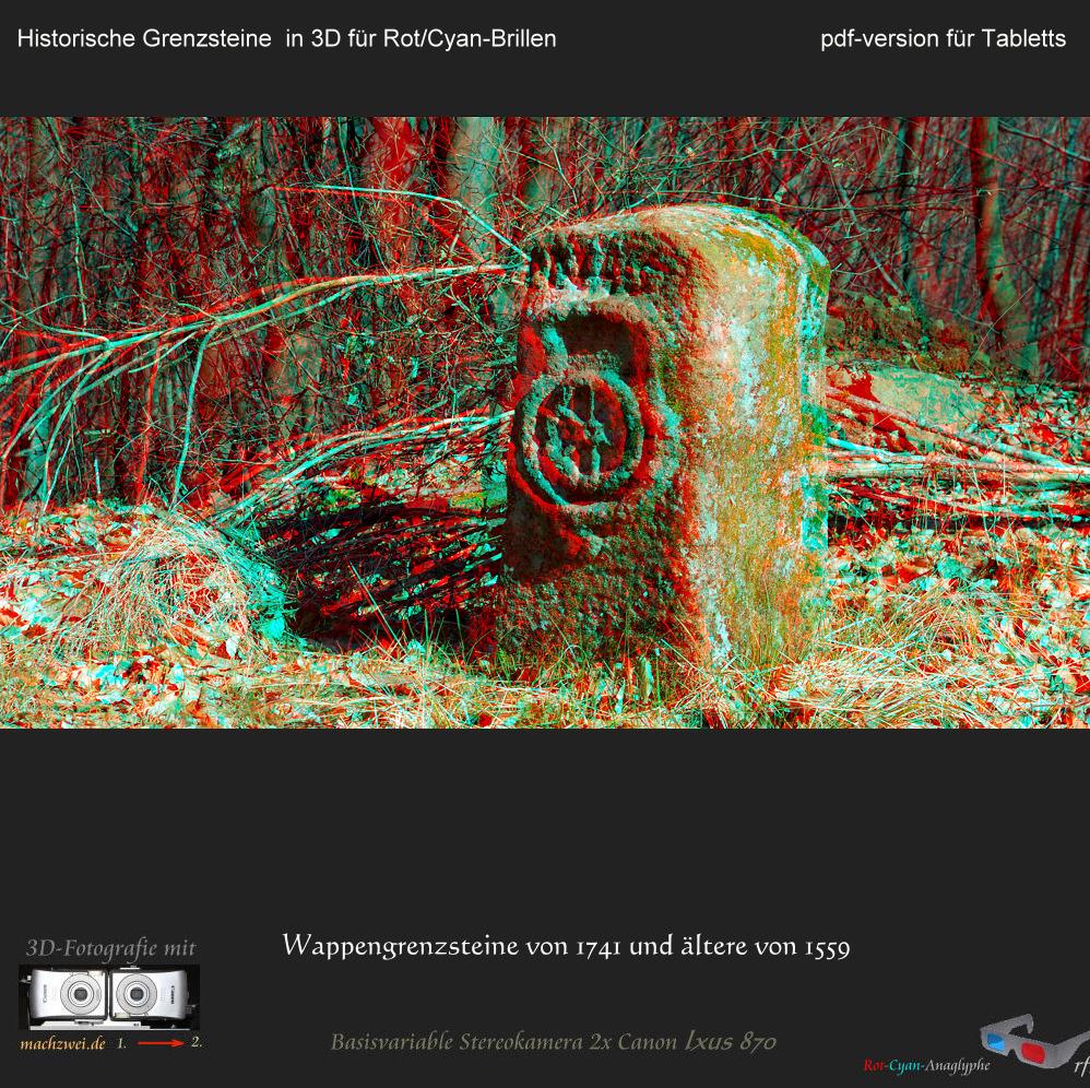 """Historische Grenzsteine in 3D für 7"""" und 8"""" Tabletts Rot/Cyan-Brille"""