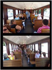 Historische Waggons - innen - bei der Zugfahrt durch das Gordontal