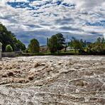 Hochwasser führende Mur bei Gratwein/Gratkorn am 22.07.12 um 9:55 Uhr!