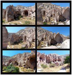 Höhlenwohnungen in einer bizarren Umgebung