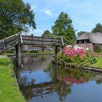 Holzbrücke und Hortensien ...