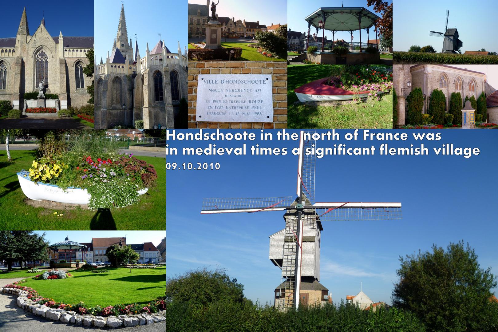 Hondschoote, traditioneller flämischer Ort in Nordfrankreich mit Windmühle nahe Calais