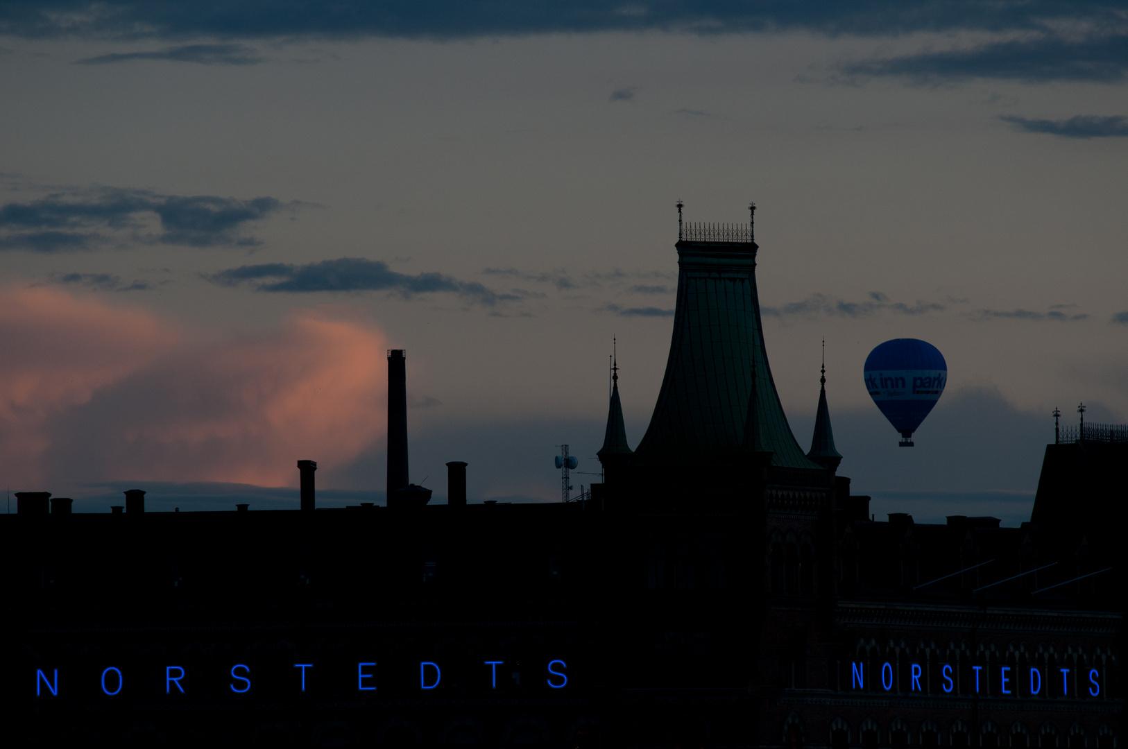 hot-air balloon at night