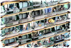Hotel-Balkone abstrakt