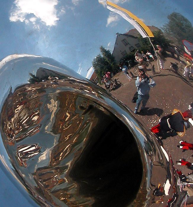 I saw myself reflected in a tuba