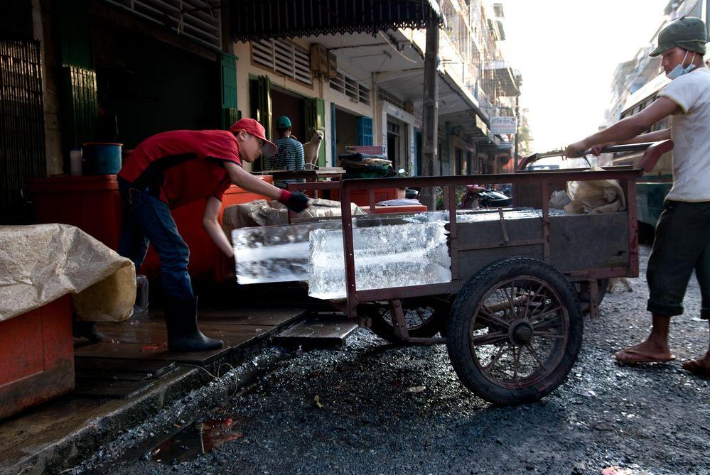 Ice Dealer in Pnom Penh, Cambodia