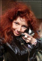 Ich mit einem unserer Kaninchenbabies