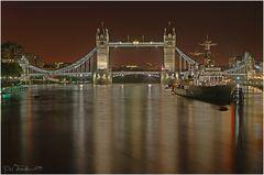 Icy Thames River at Night