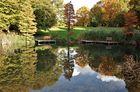 Idyllische Herbstspiegelung im Park