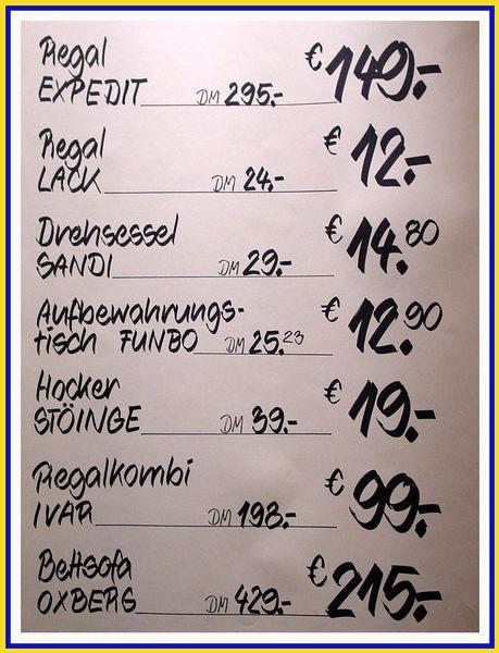 IKEA 02 - Namen und Preise
