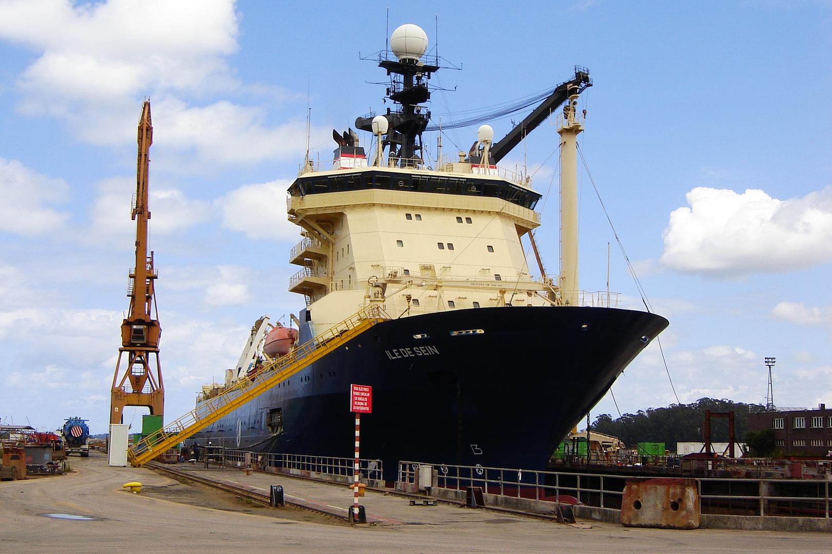 Ile de Sein vessel at Astander shipyard dry dock. Santander, Spain.