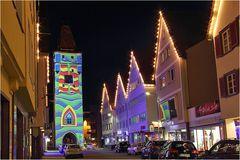 illuminiertes Ulmer-Tor in Biberach
