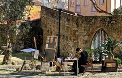 im castle de sao jorge wird kaffe nicht getrunken sondern damit wird gemalt