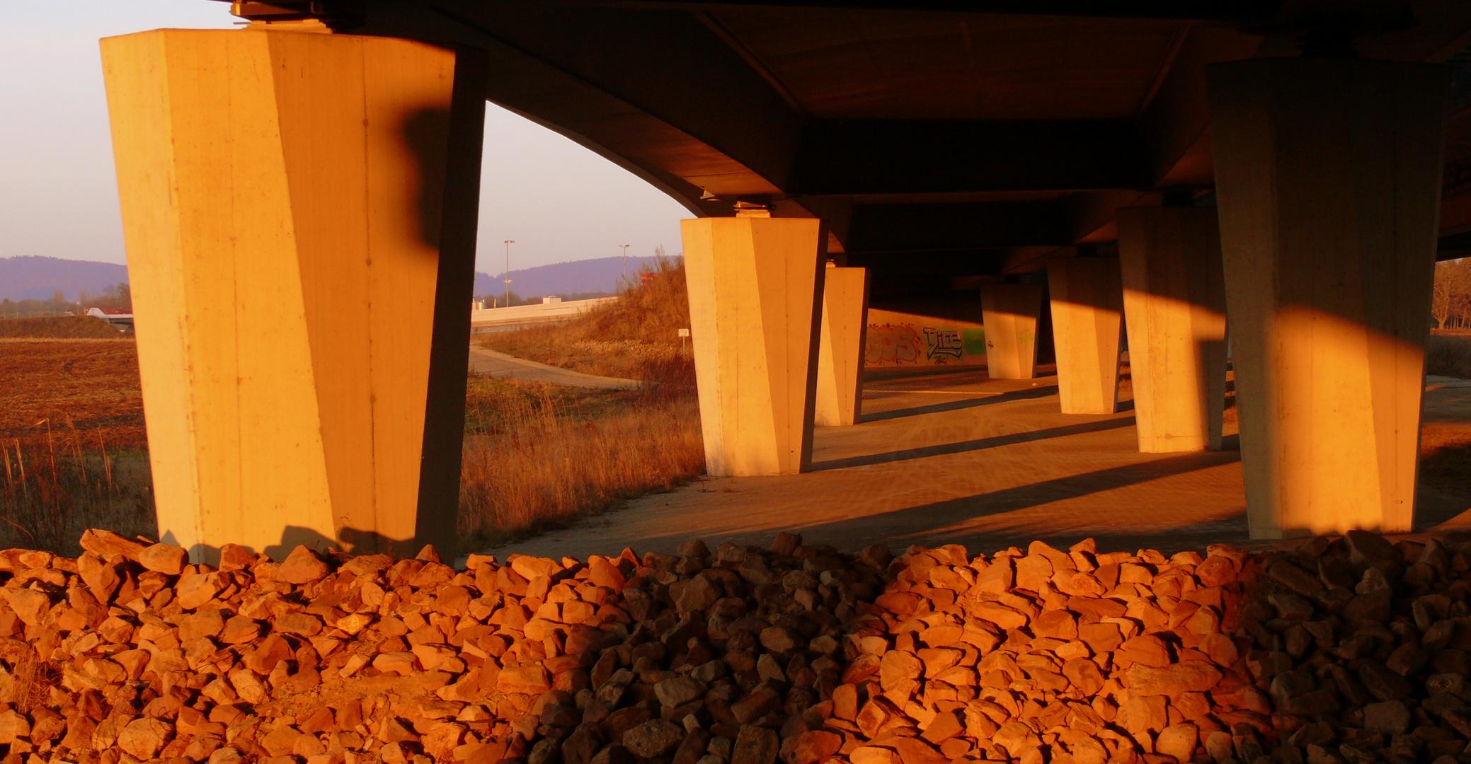 Im letzen Sonnenlicht unter der Brücke