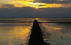 Im letzten Licht des Tages.........Buhne im Wattenmeer