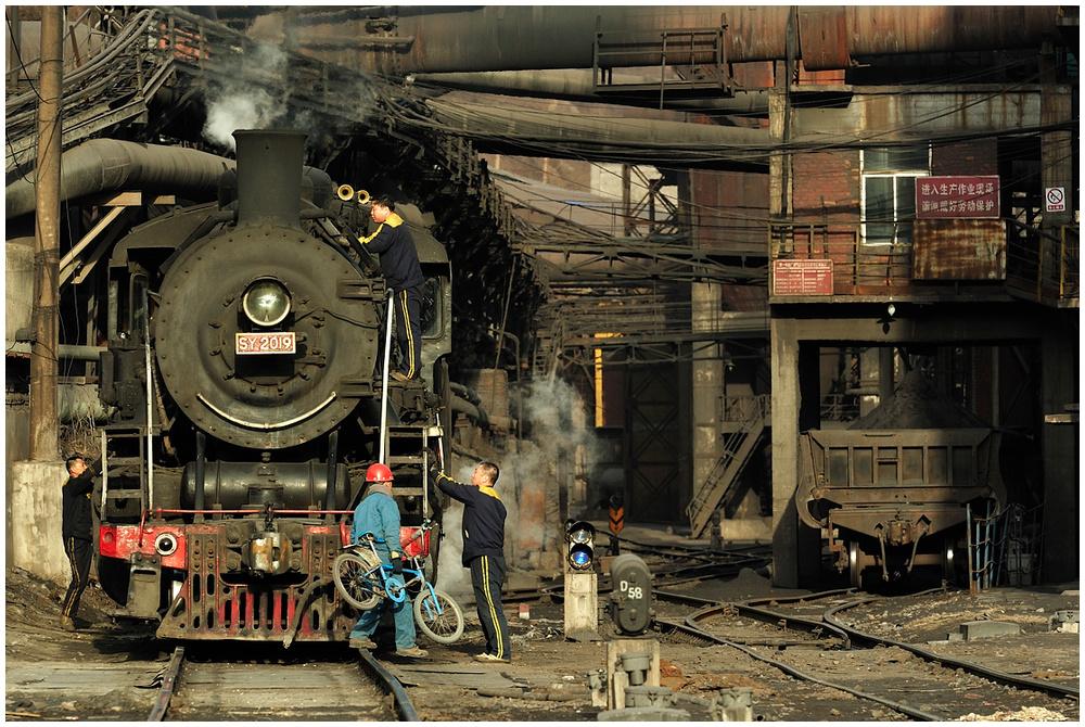 Im Stahlwerk XLI - Abendliche Lokpflege