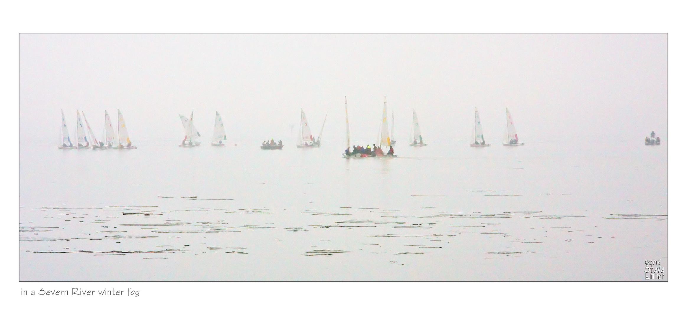 in a Severn River winter fog