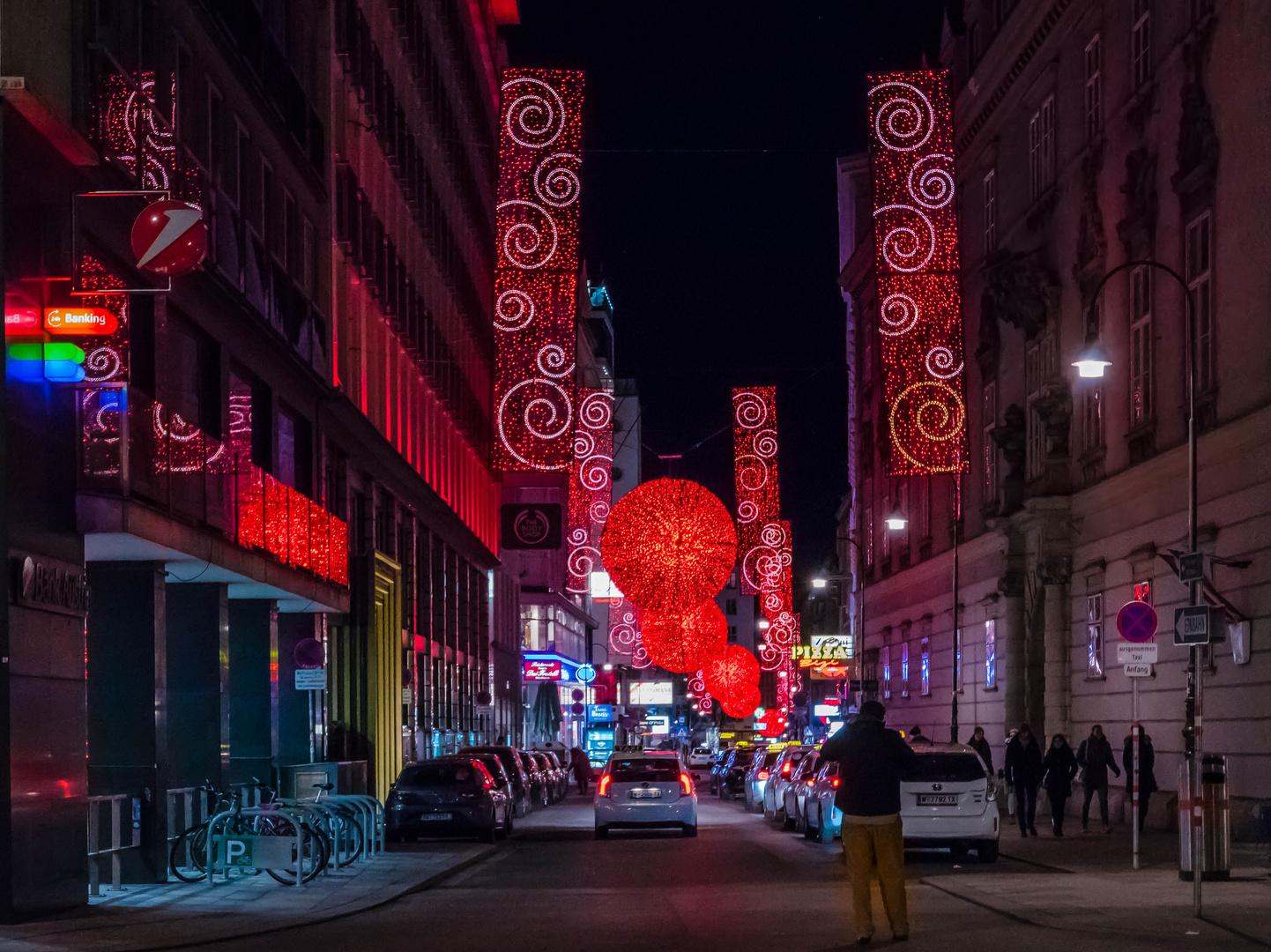 Außergewöhnliche Weihnachtsbeleuchtung.In Den Straßen Von Wien 160 Foto Bild World Nachtaufnahme