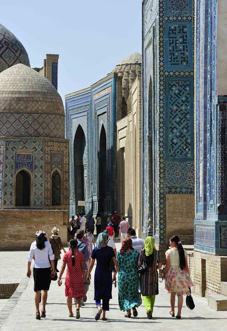 In der Nekropole Schah-de Sende in Samarkand