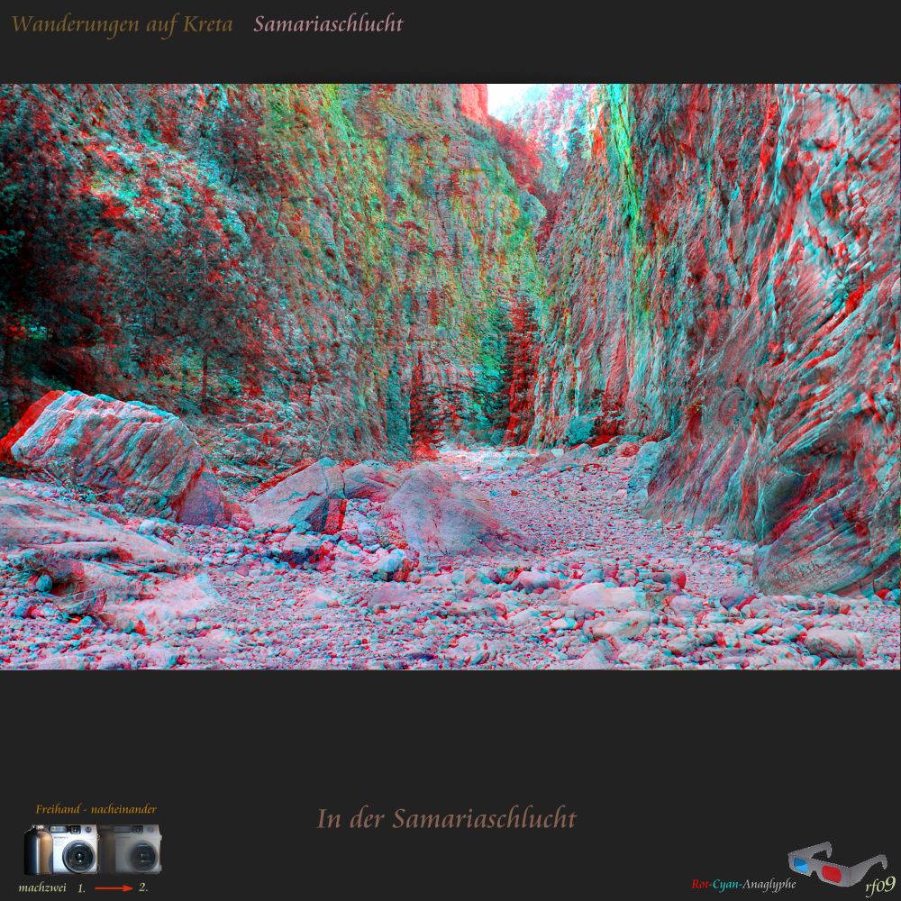 In der Samariaschlucht - 3D Stereofoto in Anaglyphentechnik