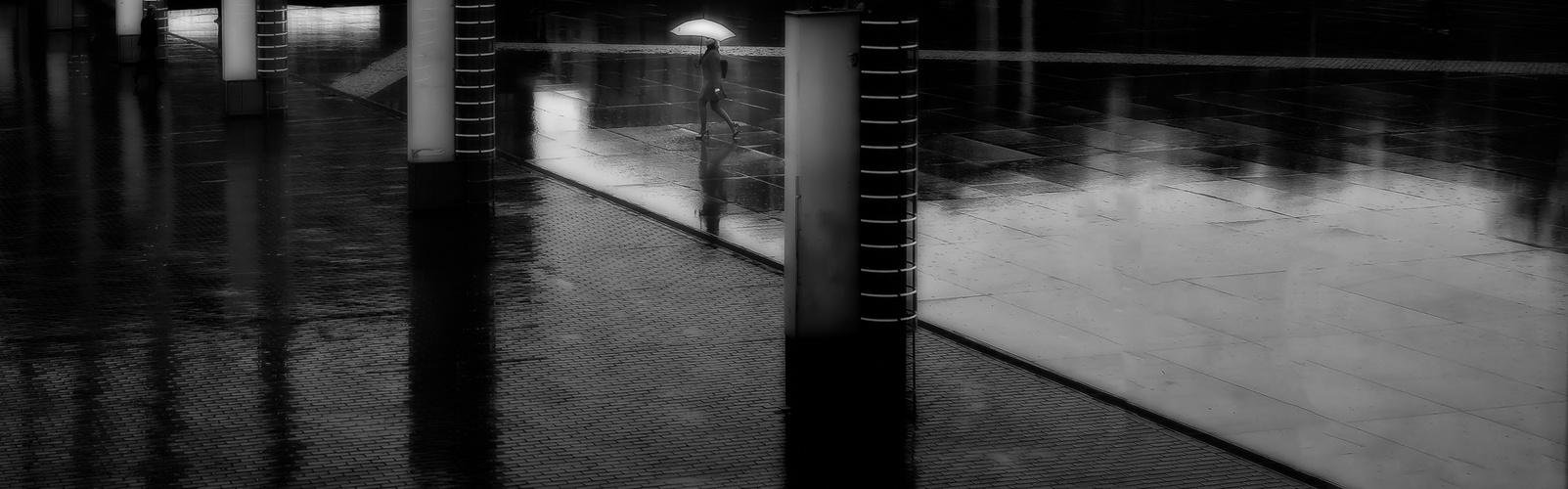 in rain between