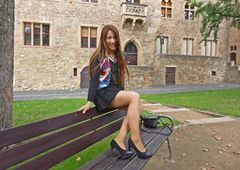 In the castle yard