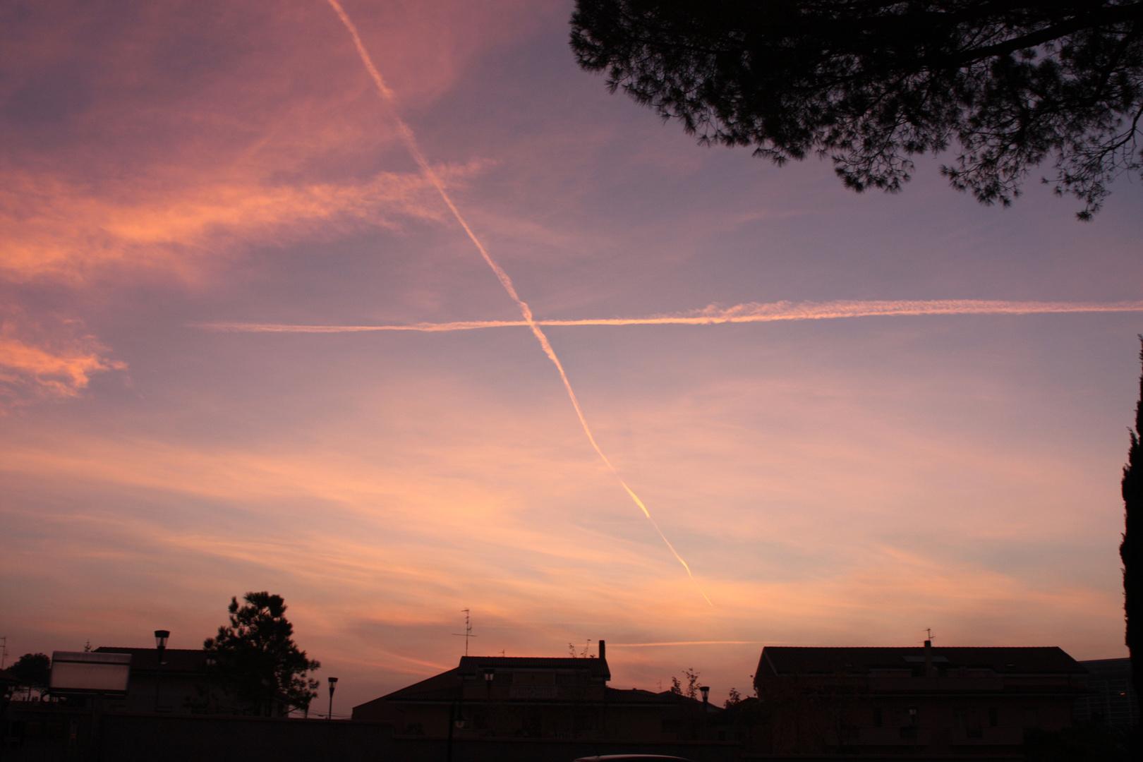 Incroci aerei all'imbrunire