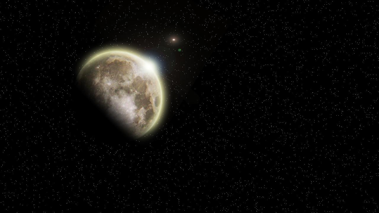 Incrustation de lune sur espace imaginaire