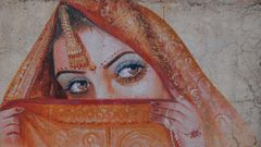 Indische Schönheit als Graffiti