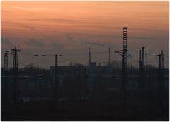 Infrastruktur im abendlichen Sonnenuntergang