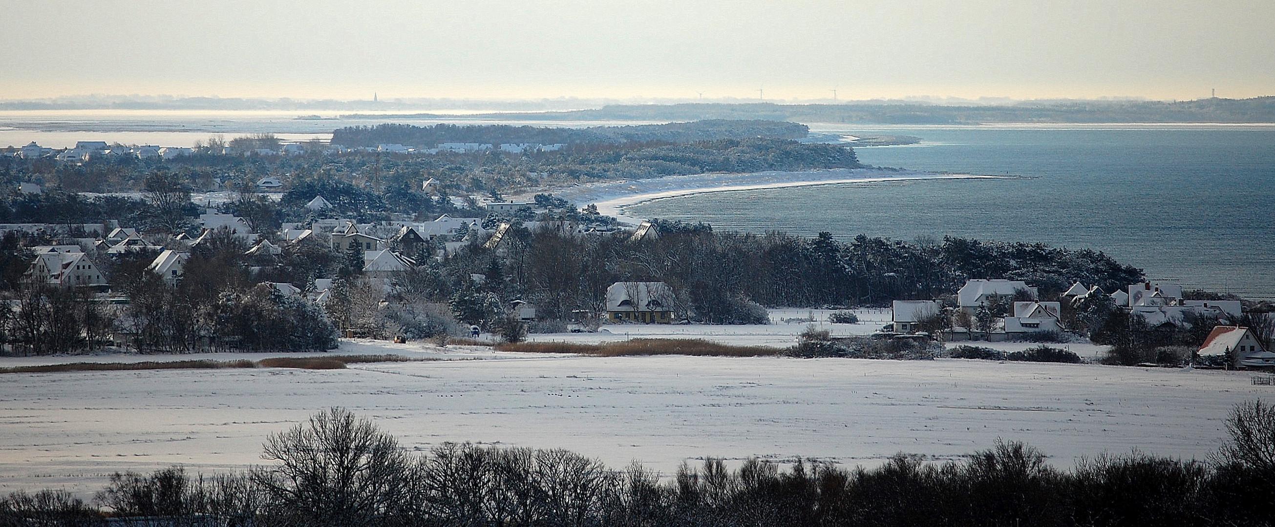 Inselblick von Insel Hiddensee im Winter