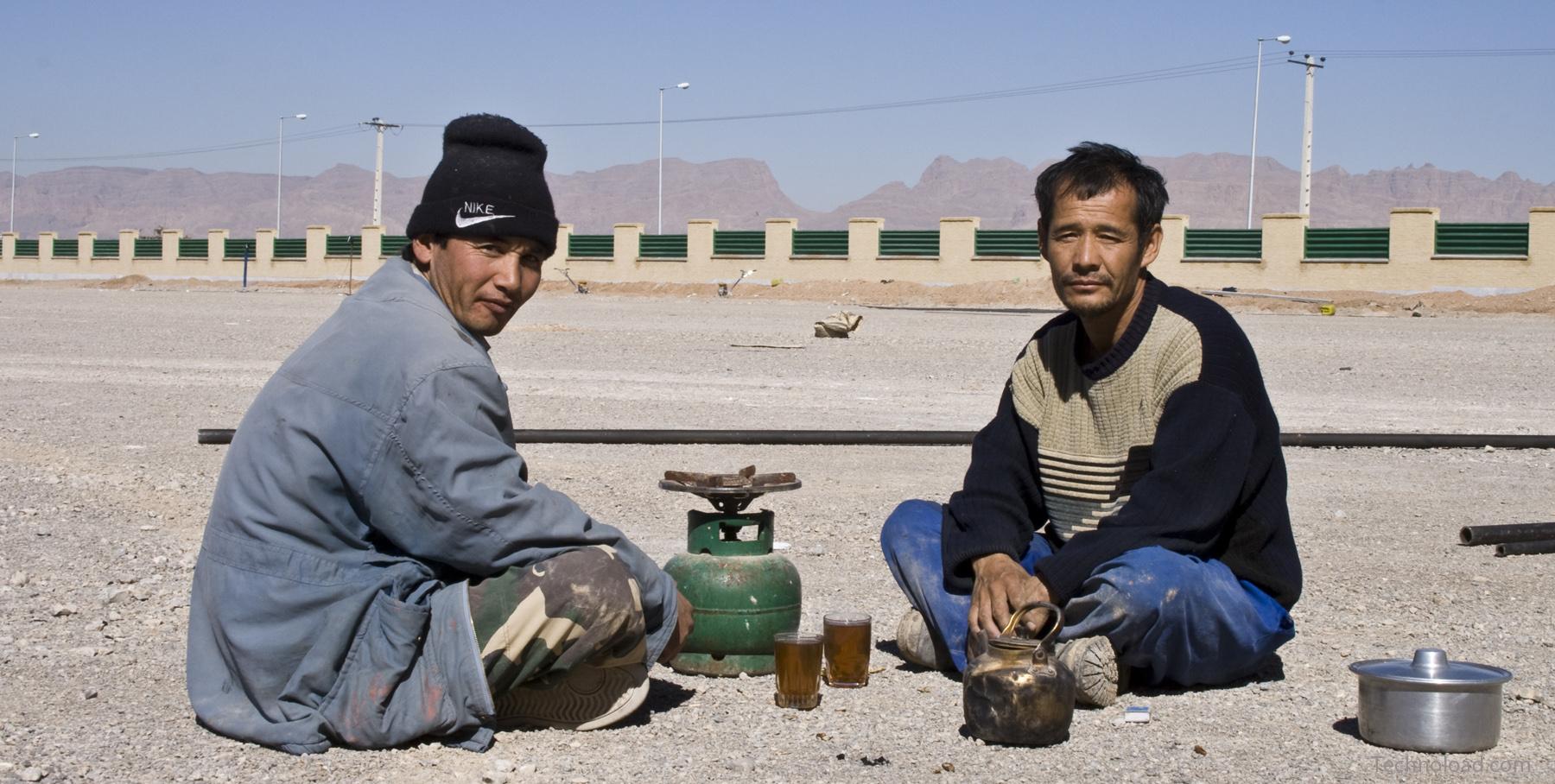 Iranisch Arbeiter bei der Teepause