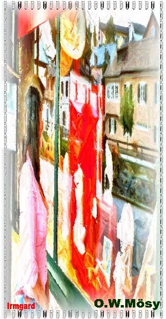 Irmgard betrachtet Kunstwerke in der Auslage