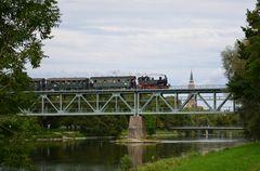 Isarbrücke Landshut am 09.09.2013, zum Abschluss natürlich mit Dampf !!